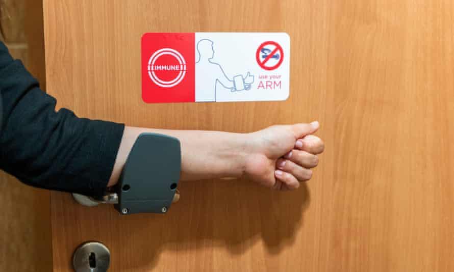 door being opened with arm