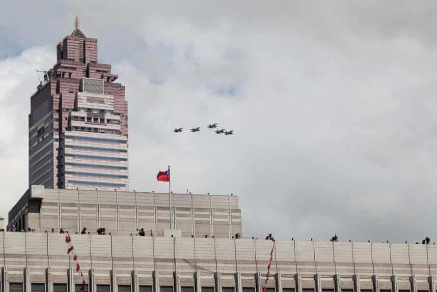 Jets fly over Taipei during Taiwan's national day celebrations on 10 October 2021.