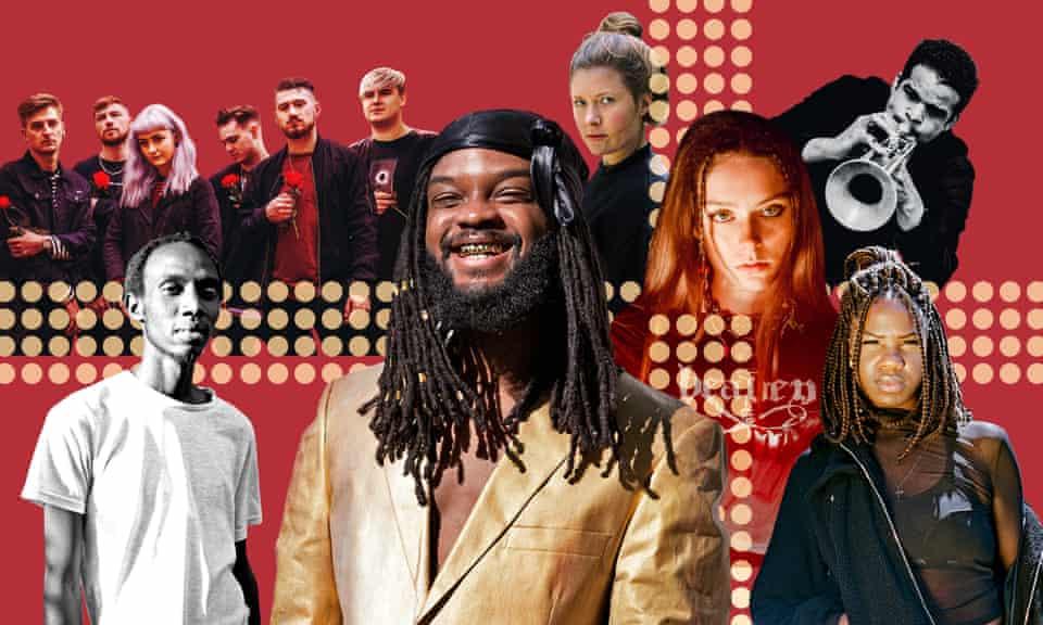 Clockwise from bottom left: KMRU, As Everything Unfolds, Zola Mennenöh, Holly Humberstone, Aquiles Navarro, Enny, Genesis Owusu.