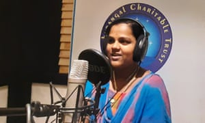A school student takes part in a programme on Kadal Osai radio