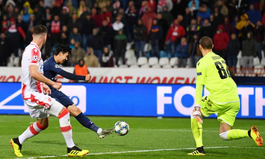 Son Heung-min scores his first and his team's second goal in Tottenham's 4-0 victory at Red Star Belgrade in the Champions League.