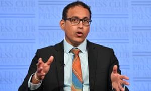 Infectious Disease Physician Sanjaya Senanayake at the National Press Club in Canberra, Australia