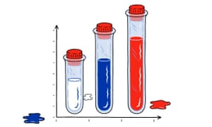 Illustration of three test tubes with white, blue and red contents