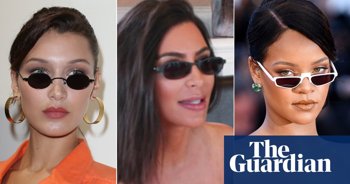 4245c696a8 Tiny sunglasses are going to be huge – according to Kanye West. Kim  Kardashian ...
