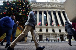 U.S.-NEW YORK-STOCKS-NYSE 17 Dec 2015, New York State, USA --- (151216) -- NEW YORK, Dec. 16, 2015 (Xinhua) -- Pedestrians walk in front of the New York Stock Exchange (NYSE), in New York, the United States, on Dec. 16, 2015. U.S. stocks rallied for the third straight day Wednesday, as the U.S. Federal Reserve decided to raise interest rates for the first time in nearly a decade. The Dow jumped 1.28 percent, and the S&P 500 leapt 1.45 percent, while the Nasdaq soared 1.52 percent. (Xinhua/Wang Lei) --- Image by © Wang Lei/Xinhua Press/Corbis