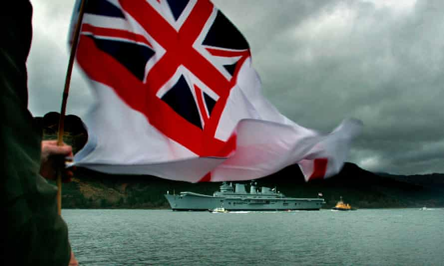 The Royal Navy's aircraft carrier the Ark Royal leaves Scotland to go to Iraq