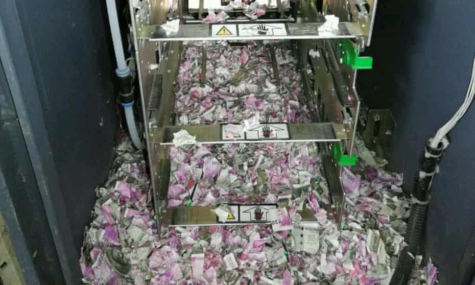 Destroyed 500 and 2,000 rupee notes in the cash machine