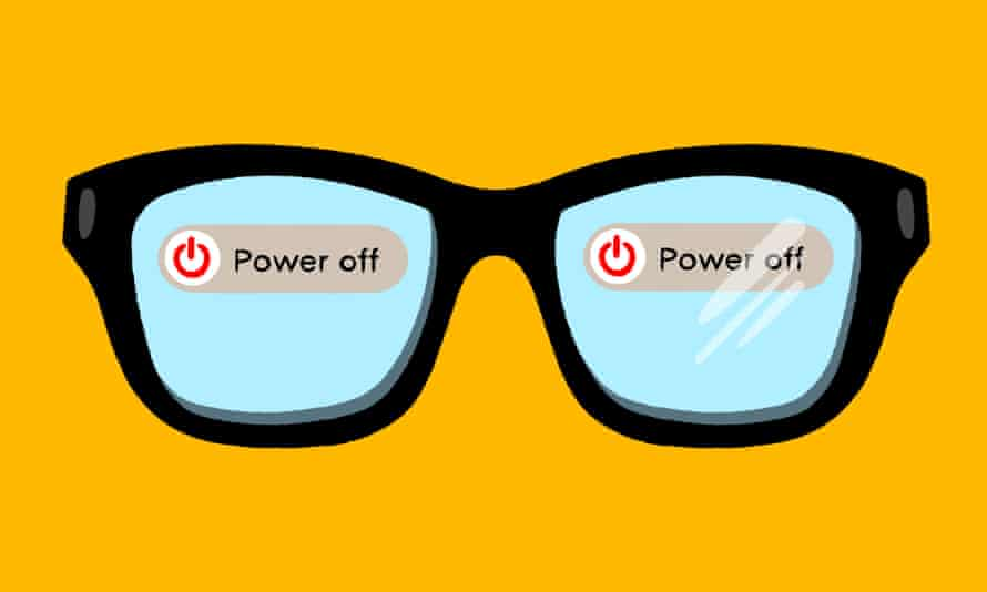Illustration of black-framed glasses against yellow background, with Power Off stickers on each lens