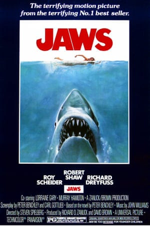 The famous film poster design for Jaws in 1975 is widely considered to be one of the most influential ever, instantly recognisable and often copied and parodied.