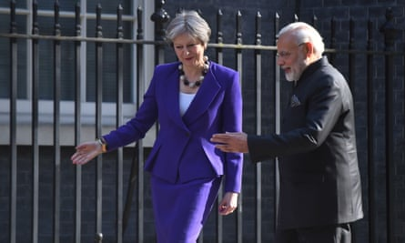 Commonwealth Heads of Government MeetingPrime Minister Theresa May greets Indian Prime Minister Narendra Modi, as he arrives in Downing Street, London, ahead of bilateral talks during the Commonwealth Heads of Government Meeting. PRESS ASSOCIATION Photo. Picture date: Wednesday April 18, 2018. See PA story POLITICS Commonwealth. Photo credit should read: Victoria Jones/PA Wire