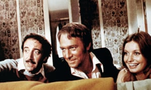 Peter Sellers as Inspector Clouseau, Christopher Plummer as Sir Charles Litton and Catherine Schell as Lady Claudine Litton in The Return of the Pink Panther, 1975