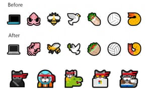 Alongside 157 new emoji, some of Microsoft's old favourites have been updated, including ninja cat.