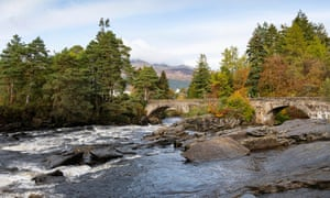 The River Dochart and the bridge in the village in Killin, Stirling
