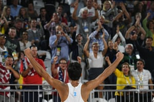 Italy's Daniele Lupo celebrates after winning the men's beach volleyball semi-final against Russia.