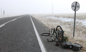 Puncture in -3C ice fog near the tiny Turkish village Ovacik, just north of the Taurus mountains.