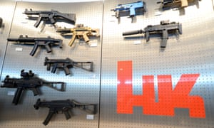 Heckler & Koch weapons on display in a presentation room at the German company's headquarters in Oberndorf