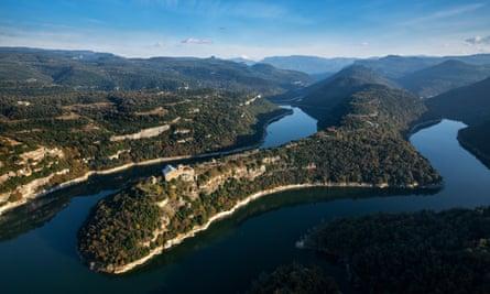 Aerial view of Sant Pere de Casserres monastery, Catalonia, Spain.