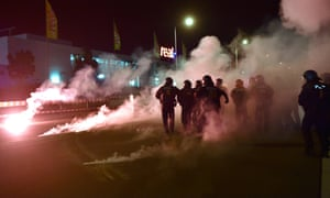Neo-Nazi protesters clash with police near a new shelter for migrants in Heidenau