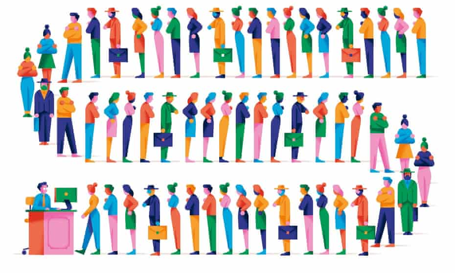Illustration of long line of people queueing to see person sitting at desk