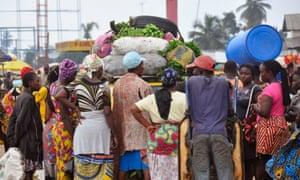 A food market in Monrovia, Liberia