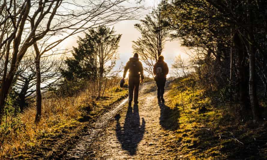 Walkers on Arnside Knott in the Arnside.