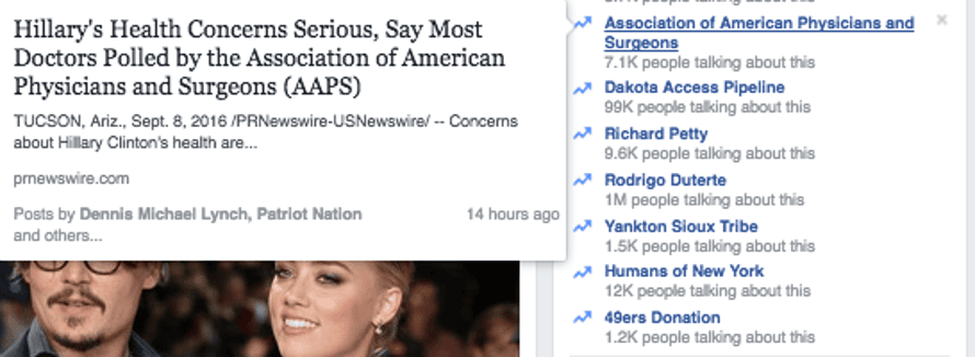 Clinton's health trending on Facebook.