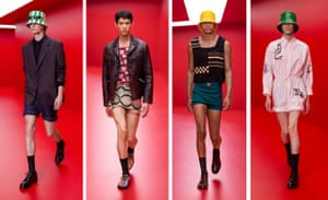 PRADA'Tunnel of joy; urgency of feelings; utopia of normality'… leave it to Miuccia Prada and Raf Simons to capture the mood. The pair decamped to the beaches of Sardinia to shoot a film that took on a quasi-retro maritime theme. After a tight edit of tailoring (which saw belts worn inside waistbands) skorts (mini skirts over micro shorts) and tanks in archive nylon jacquard; playsuits were printed with mermaid and octopus 'tattoos'; bucket hats were long at the back with zipped pockets and holes for sunglasses; while terry towelling hoodies came in three-way florals. To the sea!