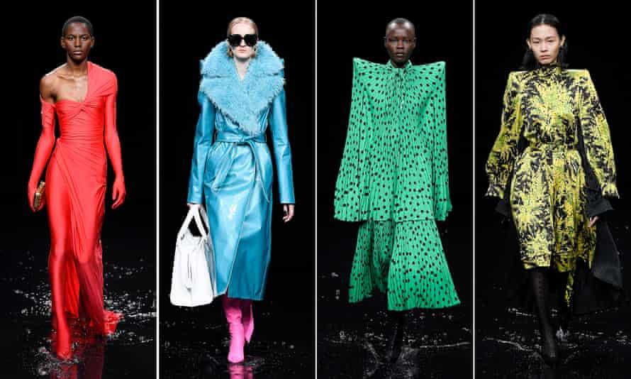 Balenciaga models are seen at the Paris fashion week show