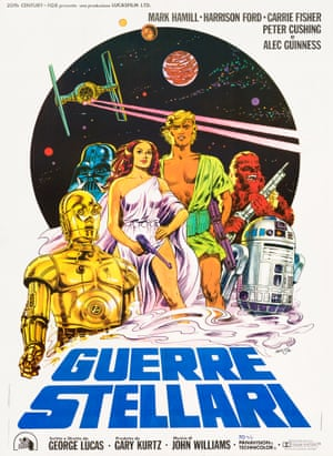 Star Wars by Sicilian artist Michelangelo Papuzza, 1977. From Rock Paper Film, which specialises in movie and music posters from the 1920s to the 1980s