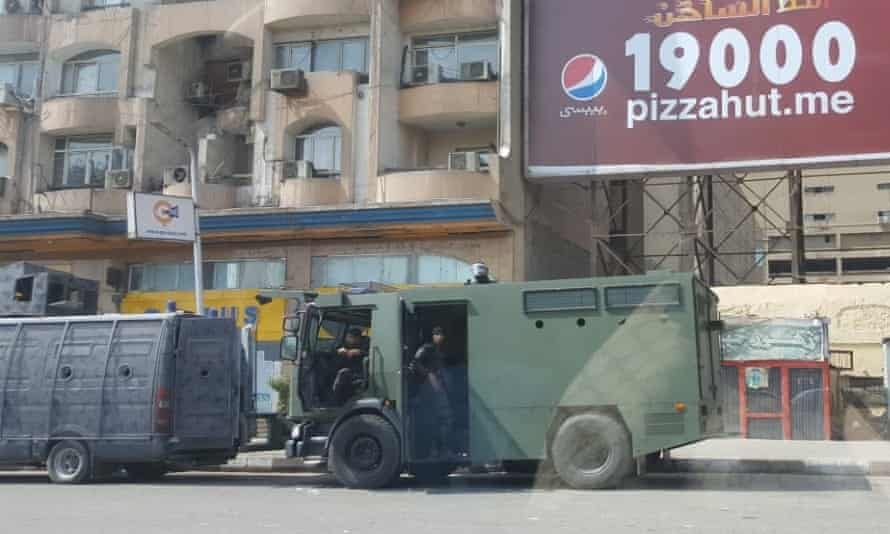 Roads to Tahrir Square blocked by security forces to prevent anti-government protests in Cairo