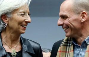Yanis Varoufakis and Christine Lagarde.