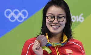 China's Fu Yuanhui poses with her bronze medal at the Rio 2016 Olympic Games
