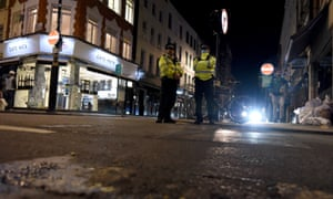 A police patrol in Soho, central London on September 24, 2020, on the first day of new earlier closing times for pubs and bars.