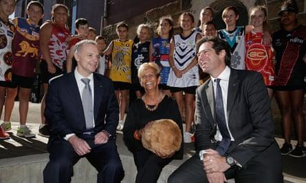 Former Rio Tinto CEO Andrew Harding, Aunty Pam Pedersen, AFL CEO Gillon McLachlan