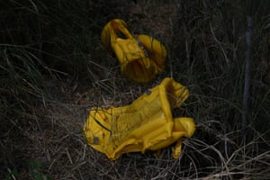 Discarded lifejackets are abandoned near a migrant crossing on the Rio Grande.