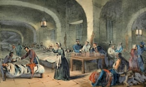 Victorian illustration shows Florence Nightingale at Scutari Hospital during the Crimean war.