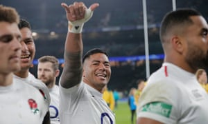 Manu Tuilagi shows his delight after helping England to a 37-18 win over Australia at Twickenham on Saturday.