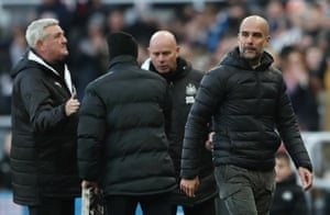 Pep Guardiola looks concerned and heads off down the tunnel.