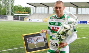 Victor Nilsson Lindelöf after playing his last game for Vasteras SK before his move to Benfica in 2012.