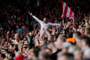 Southampton fans celebrate at the end of the match.