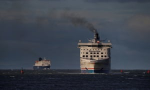 Ferries from Belfast arrive in the Scottish port of Cairnryan near Stranraer