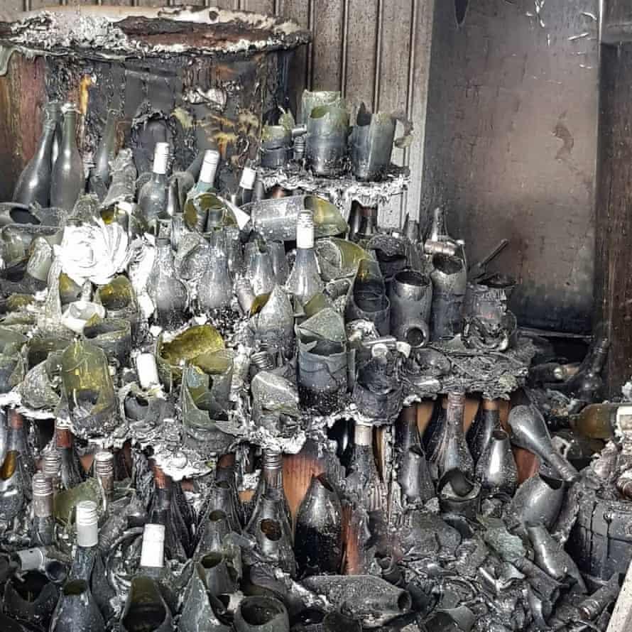 Melted bottles at the Tilbrook Estate winery