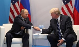 Russian President Vladimir Putin and US President Donald J. Trump shake hands during their meeting on the sidelines of the G20 summit in Hamburg, Germany, 7 July 2017.