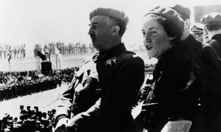 Pilar Primo de Rivera with General Franco in 1939, defended her association with the dictator as it enabled her to improve the health of Spain's women and children.