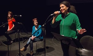 Connecting with people … Locker Room Talk at the Traverse in 2017, with Rachael Spence, Maureen Carr and Jamie Marie Leary.