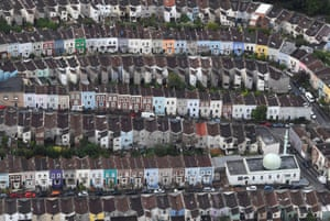 Bristol , UK: An aerial view of a mosque among residential housing