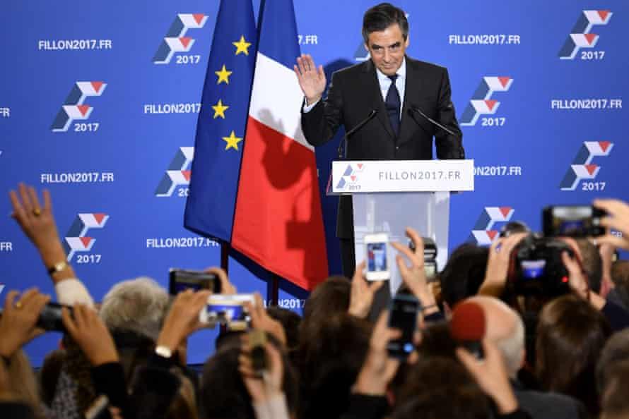 Francois Fillon gestures as he delivers a speech.