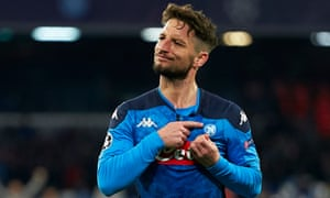 Dries Mertens celebrates scoring against Barcelona in the Champions League on 25 February