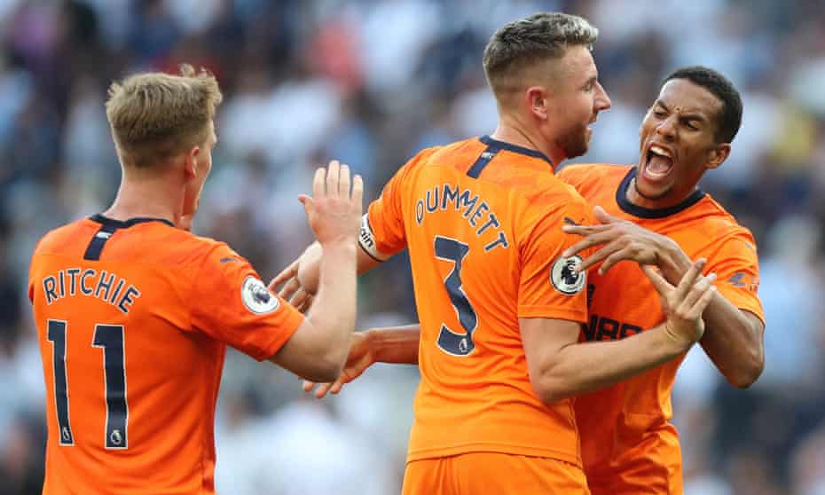 Isaac Hayden leads the celebrations after the win at Tottenham that leaves Newcastle United second from bottom – and one point off the top six.