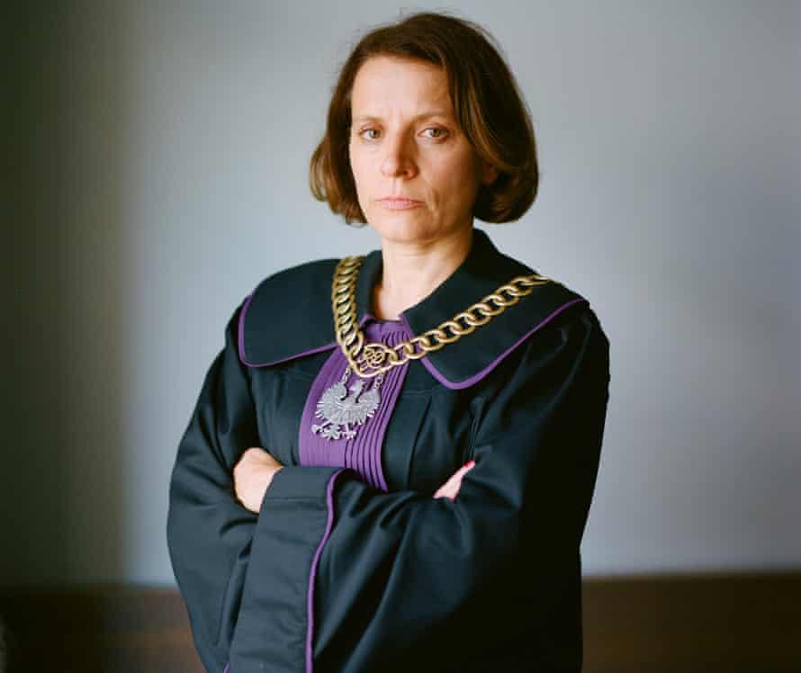 Judge Monika Frąckowiak in her judge's robe.